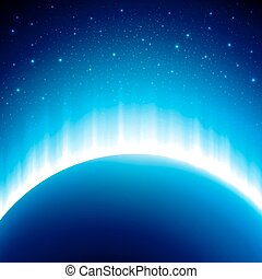 Dark blue colored space background with beautiful eclipse. Vector illustration