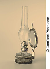old kerosene lamp isolated on white background - old...