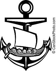 Viking Anchor - Woodcut style sea anchor with viking ship