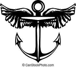 Winged Anchor - Woodcut style sea anchor with Wings.