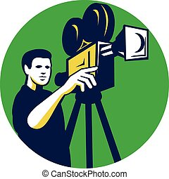 Movie Director Movie Film Camera Circle Retro - Illustration...