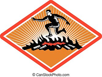 Obstacle Racing Jumping Fire Woodcut - Illustration of an...