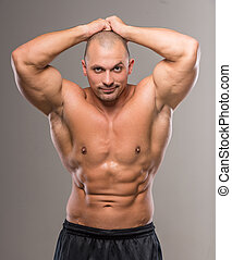 Strong man - Young sexy handsome athletic man with naked...