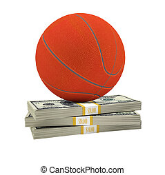 Basketball on stack of money on isolated white background