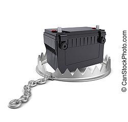 Battery in bear trap