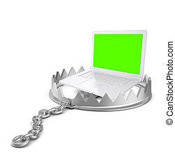 Laptop in bear trap