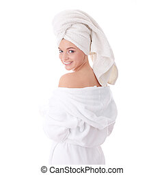 Bath time - Young beautiful caucasian woman after bath