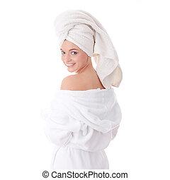 Bath time - Young beautiful caucasian woman after bath