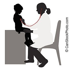 pediatrician examining of child with stethoscope silhouette...