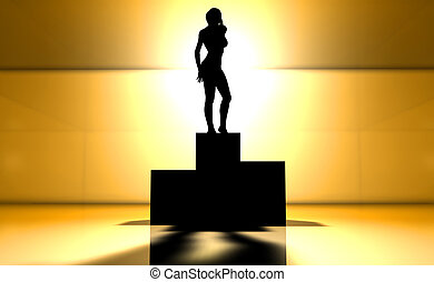 Winning Girl - 3D rendered illustration. The winning Girl......