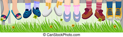 Childrens Feet at the Park with Clipping Path