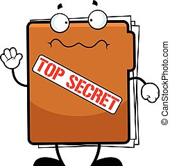 Cartoon Top Secret Folder Worried