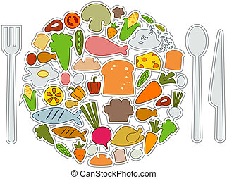 Food Icons with Clipping Path