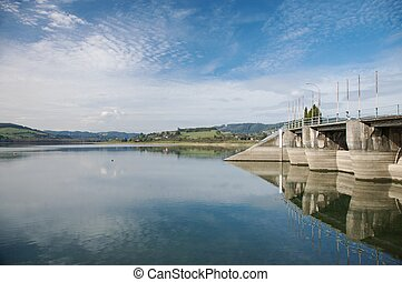 dam reservoir in asturias - reservoir next to gijon city in...