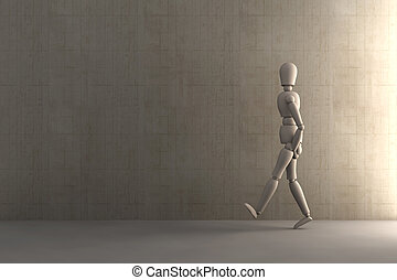 Walking away		 - 3D Illustration.