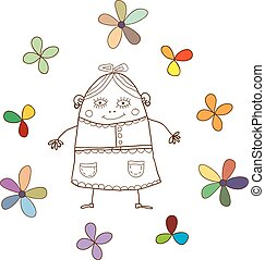 fanny girl - funny sketch girl with colored flowers