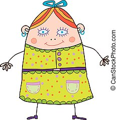 fanny girl - funny cartoon girl in a bright dress