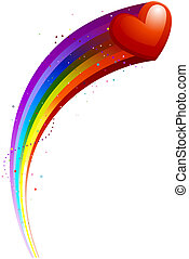 Heart Trail - Heart Rainbow Trail with Clipping Path