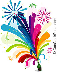 Fireworks Rainbow Trail Design with Clipping Path
