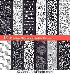 Abstract Textures Black and White Set of 12 Seamless...