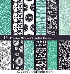 Vector Black Sea Foam Green 12 Set Seamless Patterns graphic...