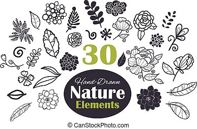 Vector Black White Natural Elements 30 Set Seamless Pattern...