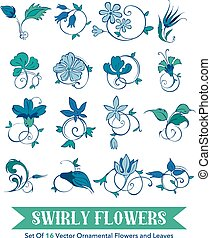 Assemblage of 16 Hand Drawn Swirly Curly Turkish Flowers and...
