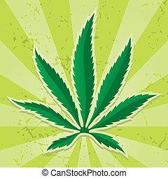 Cannabis leaf icon vector - Cannabis leaf icon on grunge...