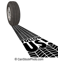 Follow Us Directions Guide Wheel Tire Tracks Leadership -...