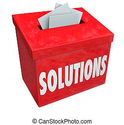解決方案, 彙整, 建議, 箱子, 解決, 問題,...