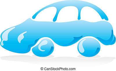 Car wash icon 3 vector - Car wash icon with blue liquid...