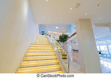 Stair case in the modern hotel interior