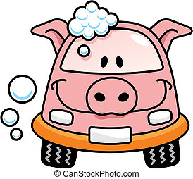 Car wash pig vector - A pig cartoon car washing with soap...