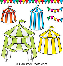 Circus tents vector - Variation of circus tents with festive...
