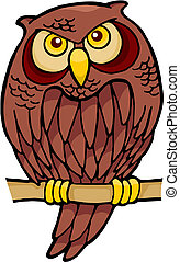 Owl cartoon vector - Owl cartoon sitting on a branch looking...