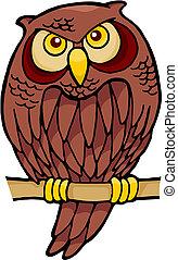 Owl cartoon vector - Owl cartoon sitting on a branch looking...