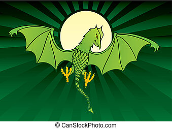 daemon background vector - Green daemon on dark green...