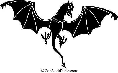 black daemon vector - black daemon silhouette with wings...