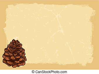 Paper with pinecone horizontal vector - Pinecone sketch on...
