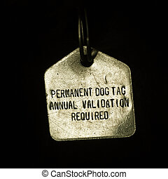 Permanent Dog Tag - Permanent dog tag, annual validation...