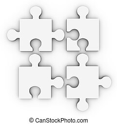 Puzzle Solution - 3D rendered Illustration. Isolated on...