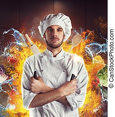 Extraordinary chef - Chef with knives between water and fire