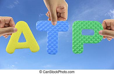 Hand arrange alphabet ATP of acronym Association of Tennis...