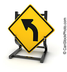 Road sign - turn left , This is a computer generated and 3d...
