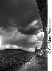 Storm over Lake Powell black and white