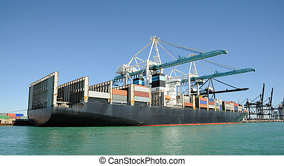 Container ship at the industrial port