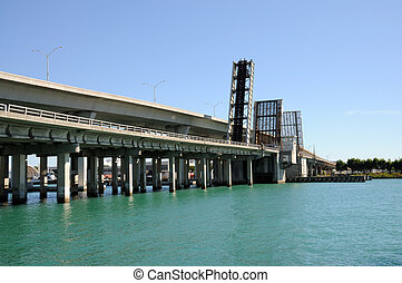 Open Bridge over the Biscayne Bay, Miami Florida