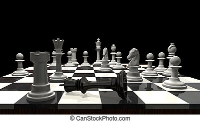 Chess - Checkmate - 3D chess game checkmate The black king...