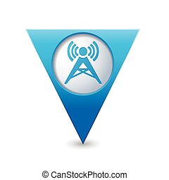 Map pointer with wireless icon - Blue triangular map pointer...