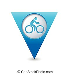 Map pointer with cyclist icon